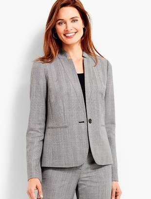 Talbots Shadow Herringbone Stand Collar Blazer
