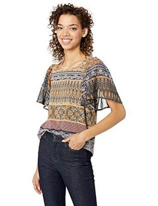 Lucky Brand Women's Allover Print Woven Mix TOP with Back Keyhole