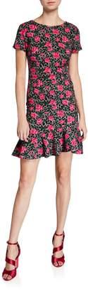 Betsey Johnson Vintage Cheetah Rose Dress with Ruffle Hem