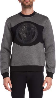 Versace Grey Leather Logo Sweatshirt