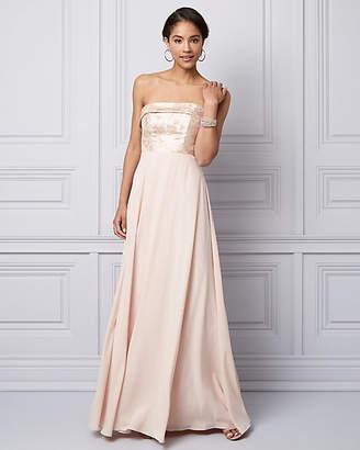 Le Château Metallic Jacquard & Chiffon Strapless Gown