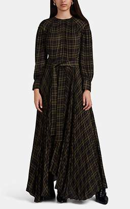 Proenza Schouler Women's Graphic-Plaid Chiffon Maxi Dress - Grn. Pat.