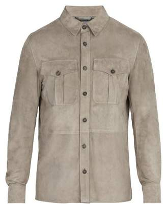 Ralph Lauren Purple Label Barron Point Collar Suede Jacket - Mens - Grey