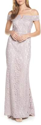 Vince Camuto Off the Shoulder Lace Evening Dress