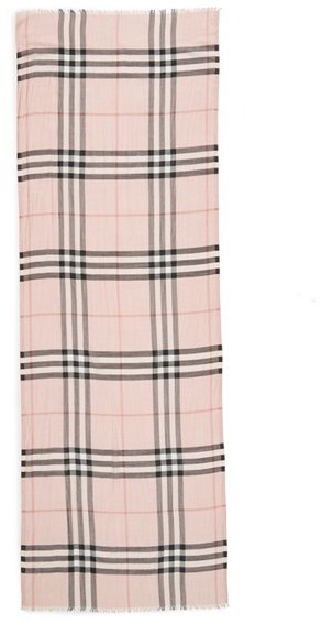 Women's Burberry Giant Check Print Wool & Silk Scarf