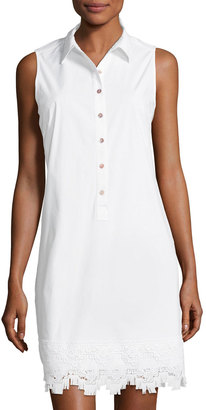Neiman Marcus Lace-Trim Sleeveless Shirtdress, White $59 thestylecure.com