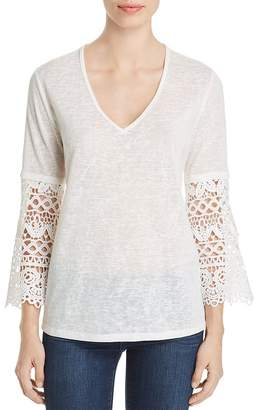 Sioni Lace-Sleeve V-Neck Top
