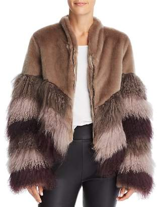 Urban Code Urbancode Color-Blocked Fur Coat