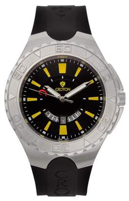 "Croton Men's ""Super C"" Quartz Watch with Black Dial & Yellow Markers & Silicon Strap"