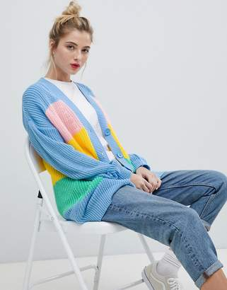 Daisy Street Relaxed Chunky Knit Cardigan In Stripe