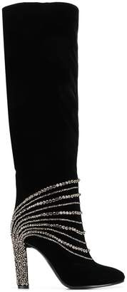 Alberta Ferretti thigh high embellished boots