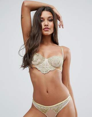 Asos BRIDAL Paloma Metallic Gold Embroidered Lace Underwire Bra