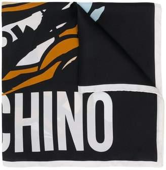 Moschino Bear logo square scarf