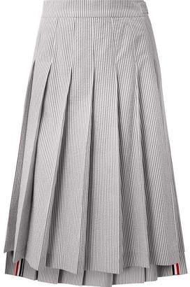 Thom Browne Pleated Striped Cotton-seersucker Midi Skirt - Gray
