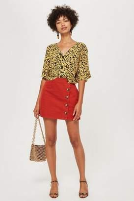Topshop Horn Button A-Line Denim Skirt