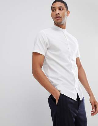 Selected Short Sleeve Linen Shirt With Grandad Collar