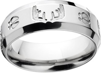 ONLINE Men's Milled Track and Rack Durable 8mm Stainless Steel Wedding Band with Comfort Fit Design