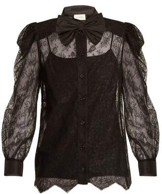 Gucci - Bow Embellished Floral Lace Top - Womens - Black