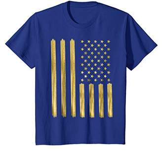 American Flag T Shirt Gold Paint Imitation