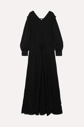 Chloé Satin-jersey And Chiffon Maxi Dress - Black