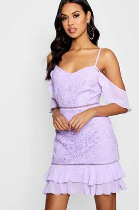 boohoo Boutique Lace Ruffle Mini Dress