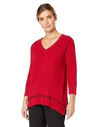 Chaus Women's 3/4 Sleeve V-Neck Pullover Sweater