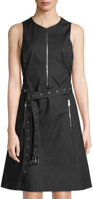 Michael Kors Zip-Front Belted A-Line Dress