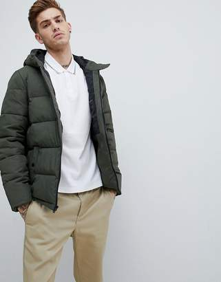 Original Penguin quilted hooded puffer jacket sleeve badge logo in green