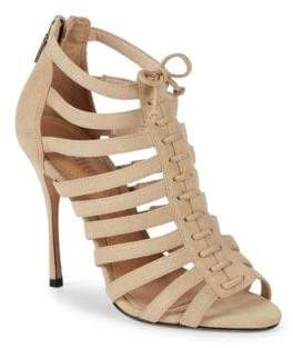 Schutz Zip-Up Leather Stiletto Sandals