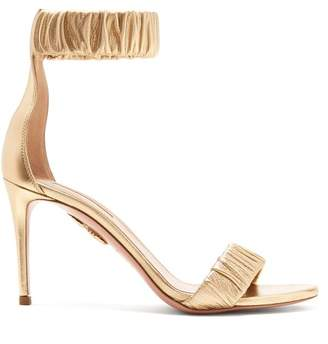 Aquazzura Liberty 85 Ruched Leather Sandals - Womens - Gold