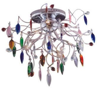 Linea Grillo Nine Light Coloured Drop Pendant in Chrome