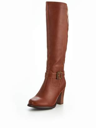 Very Prosper Cleated Sole Buckle Detail Knee High Boot Tan