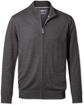 Charles Tyrwhitt Charcoal Merino Wool Zip Through Cardigan Size Small