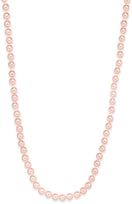 Charter Club Silver-Tone Pink Imitation Pearl (8mm) Strand Necklace, Created for Macy's