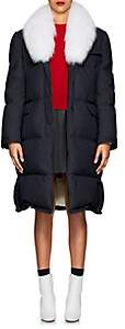 Thom Browne Women's Fur-Trimmed Down-Quilted Wool Coat - Navy