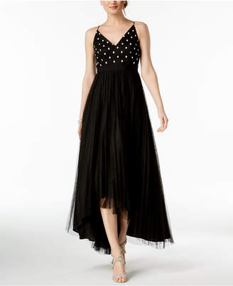 Adrianna Papell Petite Pleated High-Low Gown