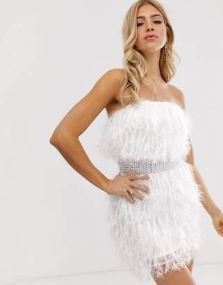 5cd976d88148 Asos Design DESIGN faux feather rhinestone belt mini dress
