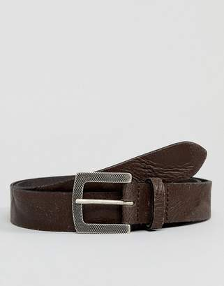 Asos Design DESIGN smart slim belt in vintage look leather in brown with emboss buckle