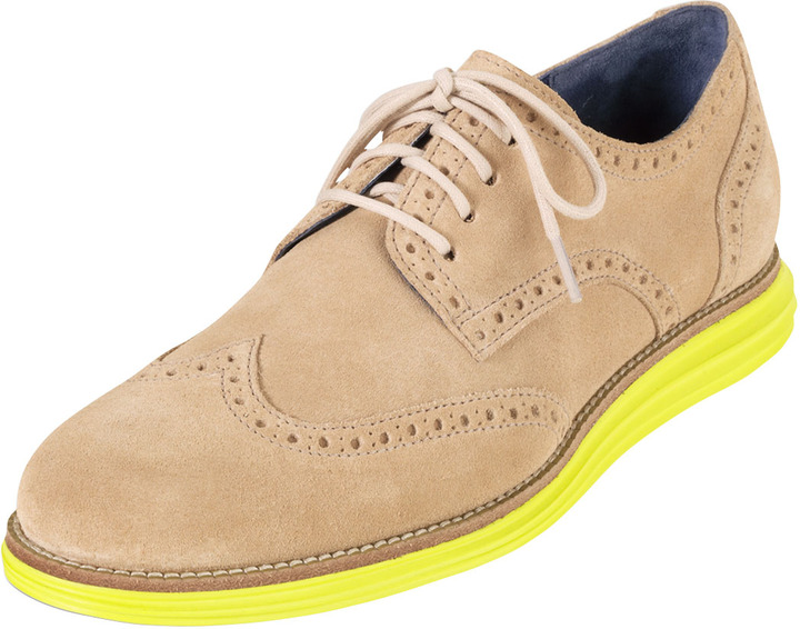 Cole Haan LunarGrand Wing-Tip, Sand/Yellow