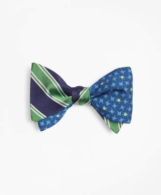 Brooks Brothers Double Framed Stripe with Frog Motif Print Reversible Bow Tie