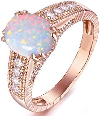 White Fire Peermont Opal 18kt Rose Gold-Tone Engagement Ring