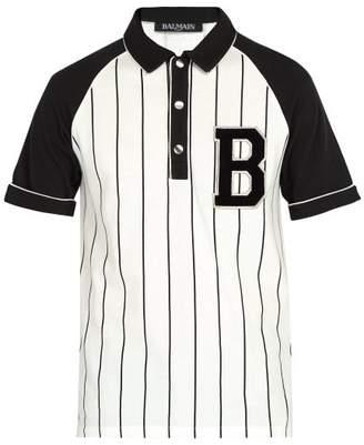 Balmain Striped Cotton Pique Polo Shirt - Mens - White
