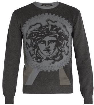 Versace Medusa Jacquard Cotton Blend Sweater - Mens - Grey
