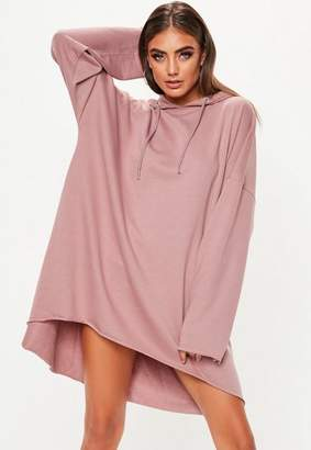 Missguided Rose Oversized Hooded Dip Hem Sweater Dress