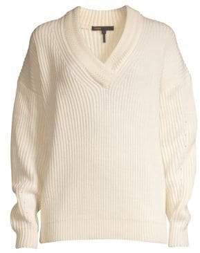 Maje Wool-Blend V-Neck Knit Sweater
