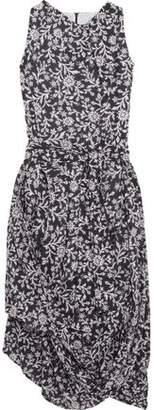 Vivienne Westwood Asymmetric Gathered Floral-Print Cotton Midi Dress