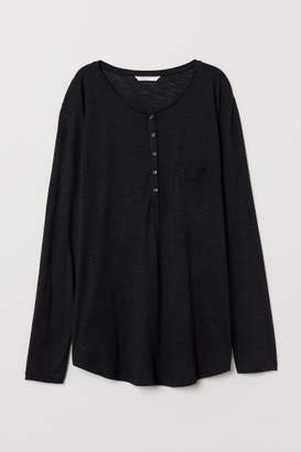 H&M Modal-blend Henley Top - Black