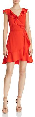 J.o.a. Ruffled V-Back Faux-Wrap Dress
