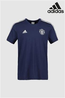 Next Mens adidas Manchester United FC 3 Stripe T-Shirt