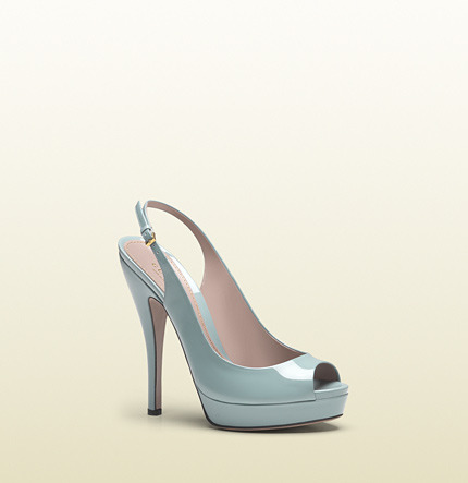 Gucci Lisbeth Light Blue Patent Leather Sling Back Platform Shoe